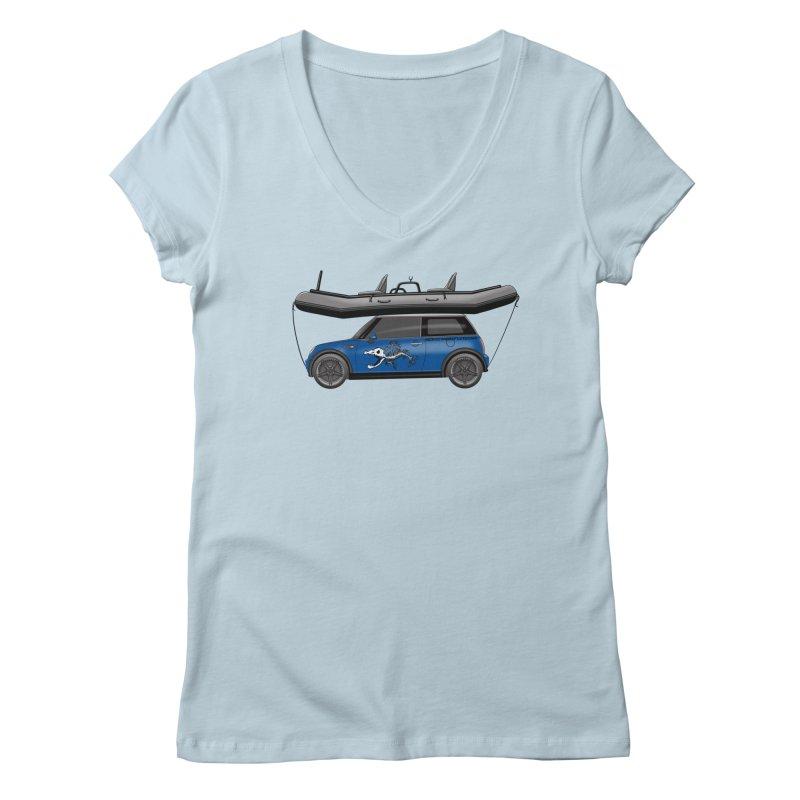 Mini Cooper Adventure Rig Women's Regular V-Neck by Boneyard Studio - Boneyard Fly Gear