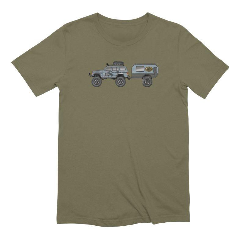 Jeep XJ Overlander Adventure Rig Men's Extra Soft T-Shirt by Boneyard Studio - Boneyard Fly Gear