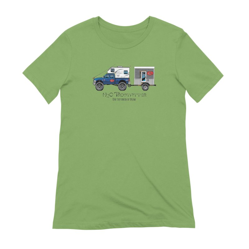 H2O Troutfitter Traveling Fly Shop Women's Extra Soft T-Shirt by Boneyard Studio - Boneyard Fly Gear