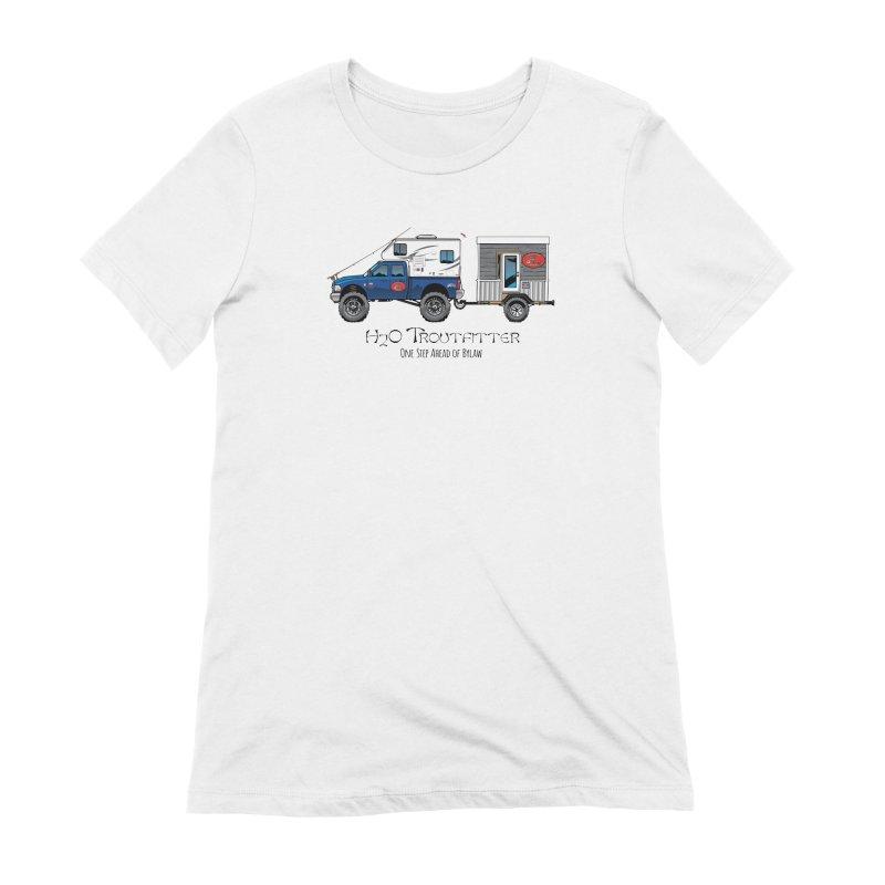 H2O Troutfitter Traveling Fly Shop Women's Extra Soft T-Shirt by Boneyard Studio - Boneyard Fly Gear