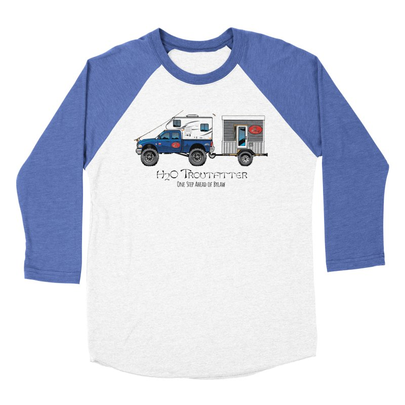 H2O Troutfitter Traveling Fly Shop Women's Baseball Triblend Longsleeve T-Shirt by Boneyard Studio - Boneyard Fly Gear