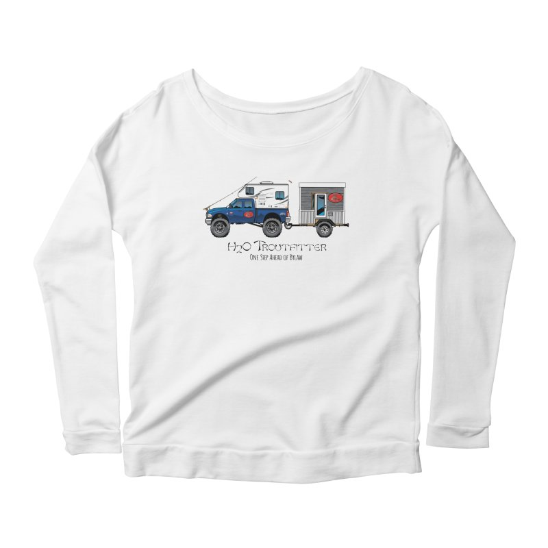H2O Troutfitter Traveling Fly Shop Women's Scoop Neck Longsleeve T-Shirt by Boneyard Studio - Boneyard Fly Gear