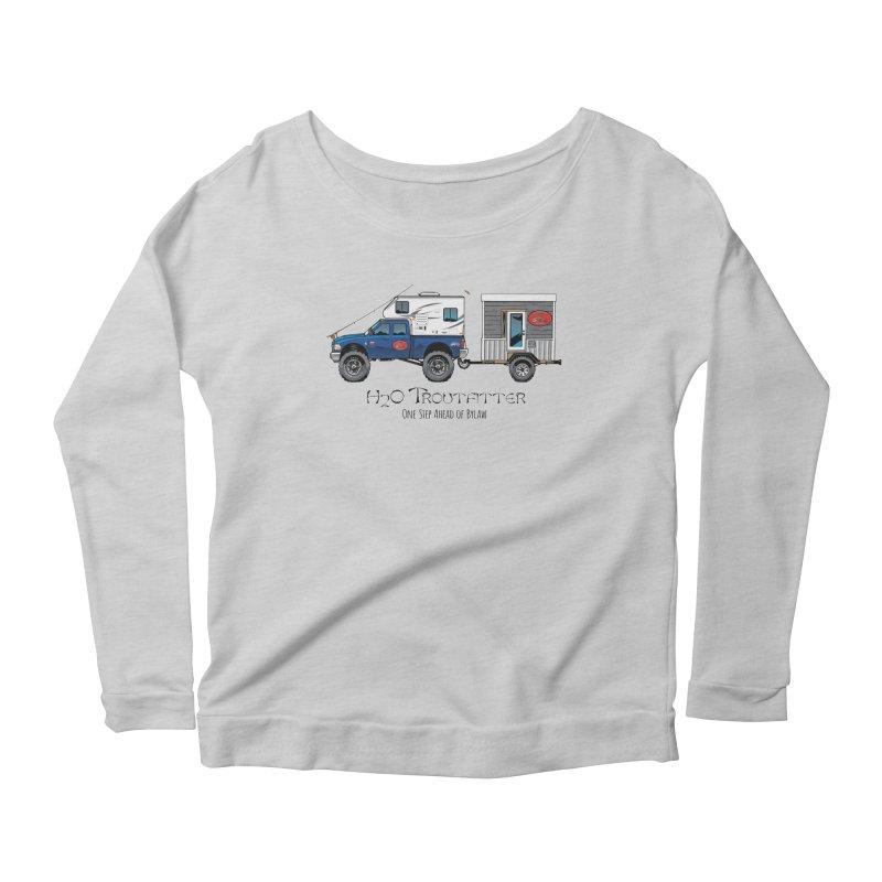 H2O Troutfitter Traveling Fly Shop Women's Scoop Neck Longsleeve T-Shirt by Boneyard Studio - Boneyard Fly Gear