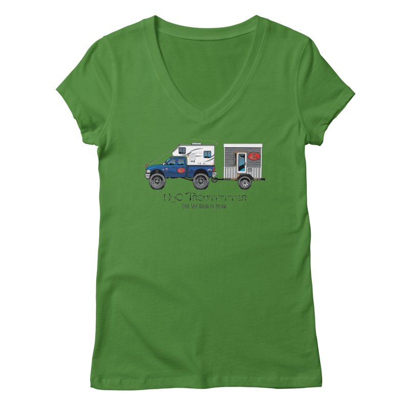 H2O Troutfitter Traveling Fly Shop Women's Regular V-Neck by Boneyard Studio - Boneyard Fly Gear