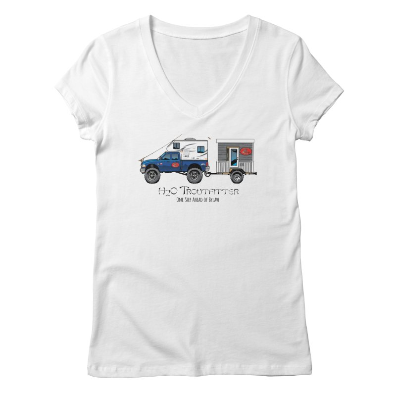H2O Troutfitter Traveling Fly Shop Women's V-Neck by Boneyard Studio - Boneyard Fly Gear