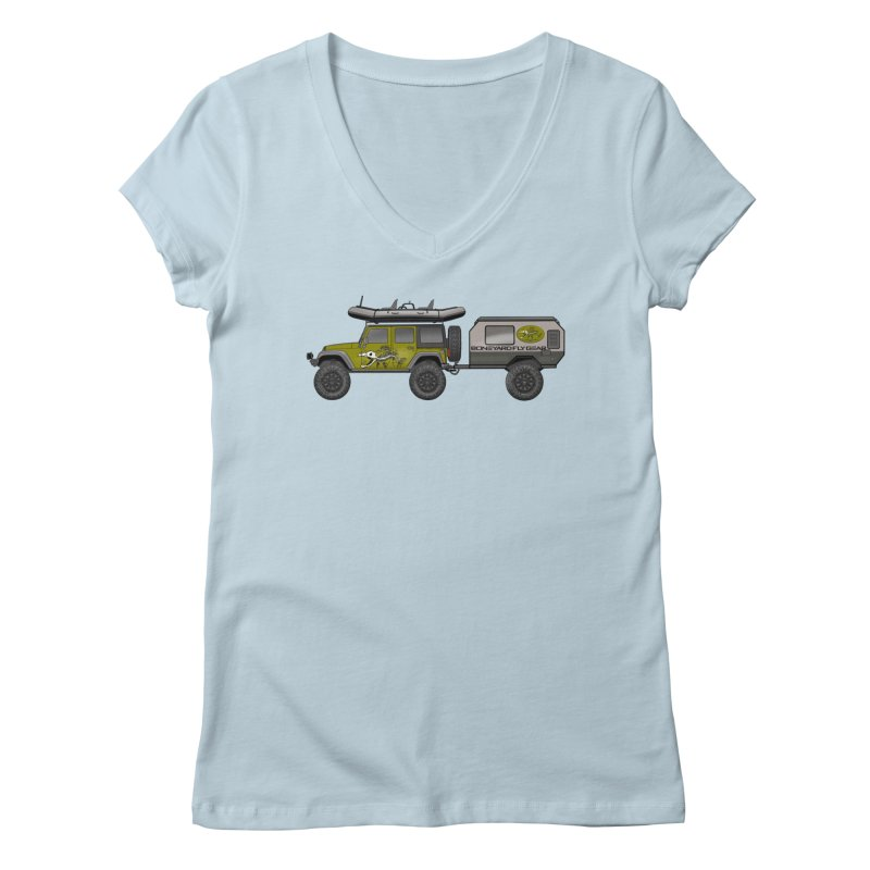 Jeep JK Adventure Rig Women's Regular V-Neck by Boneyard Studio - Boneyard Fly Gear