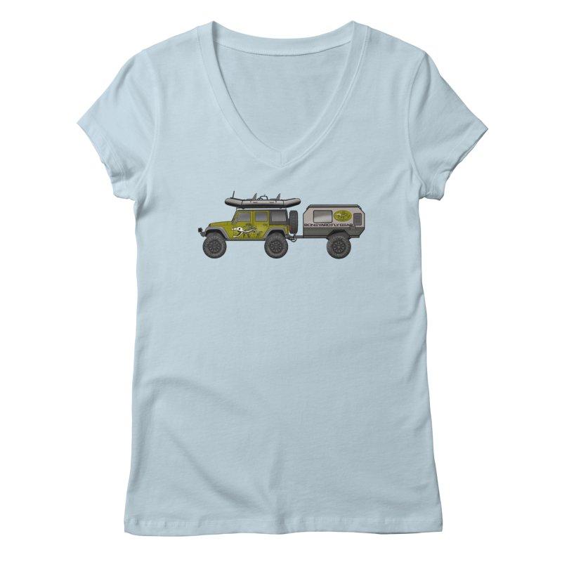 Jeep JK Adventure Rig Women's V-Neck by Boneyard Studio - Boneyard Fly Gear
