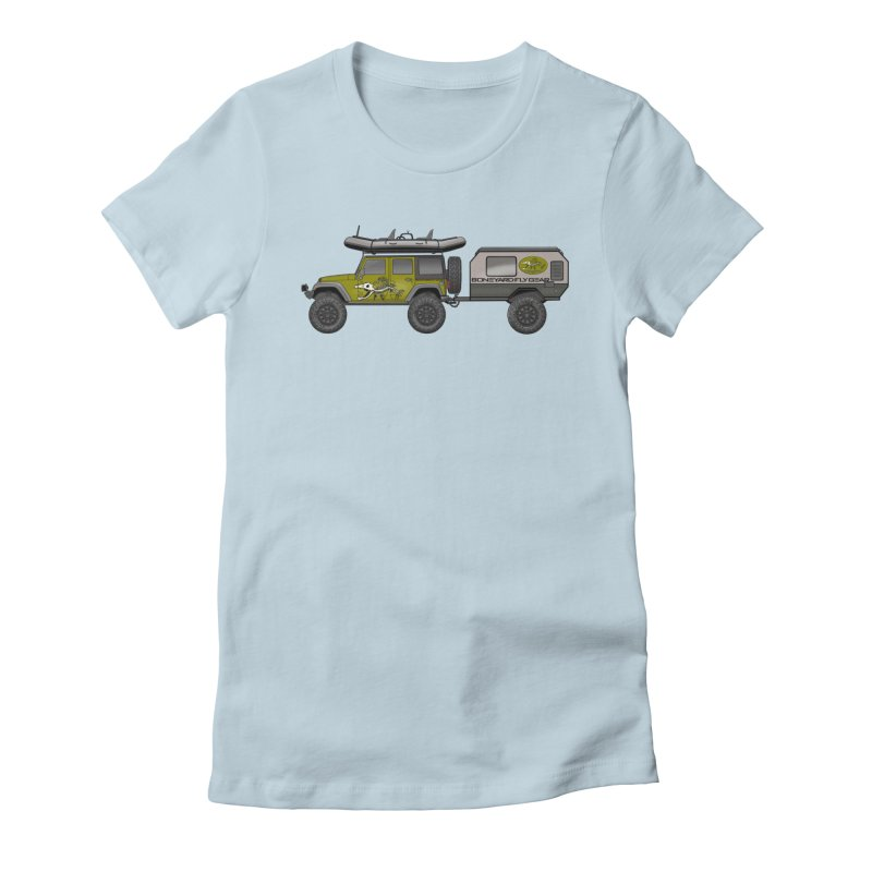 Jeep JK Adventure Rig Women's Fitted T-Shirt by Boneyard Studio - Boneyard Fly Gear