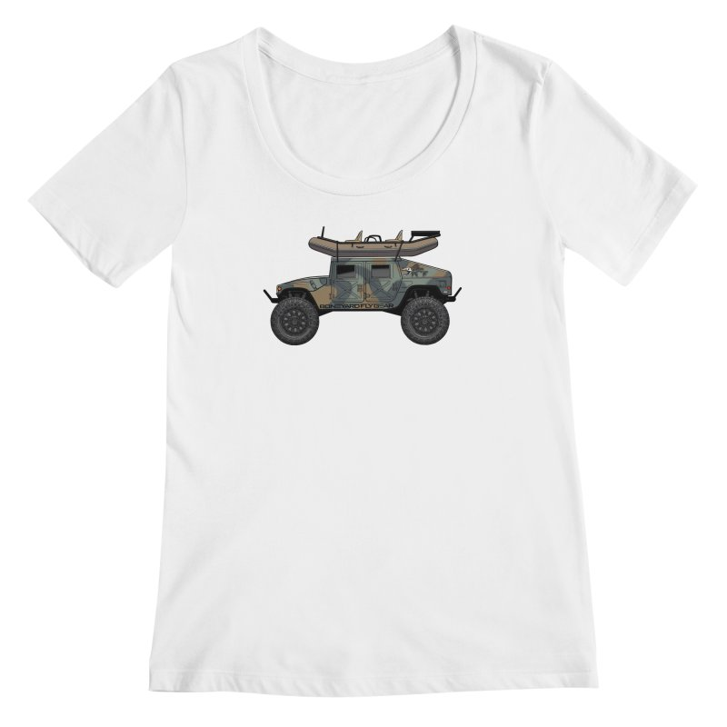 Humvee Adventure Rig Women's Regular Scoop Neck by Boneyard Studio - Boneyard Fly Gear
