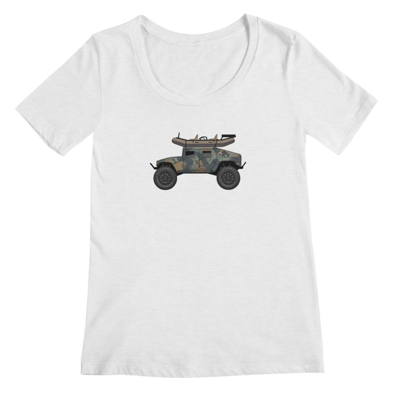 Humvee Adventure Rig Women's Regular Scoop Neck by Boneyard Studio - Boneyard Fly Gear