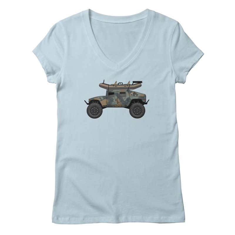 Humvee Adventure Rig Women's Regular V-Neck by Boneyard Studio - Boneyard Fly Gear