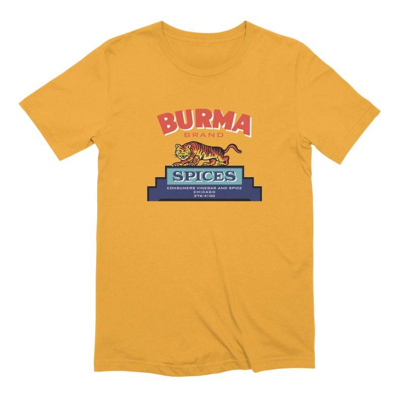 Burma Spices Tiger Logo in Men's Extra Soft T-Shirt Gold by Boneyard Studio - Boneyard Fly Gear