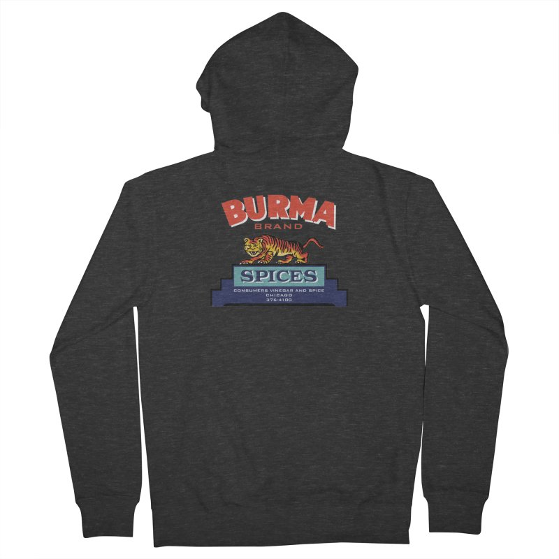 Burma Spices Tiger Logo Men's French Terry Zip-Up Hoody by Boneyard Studio - Boneyard Fly Gear
