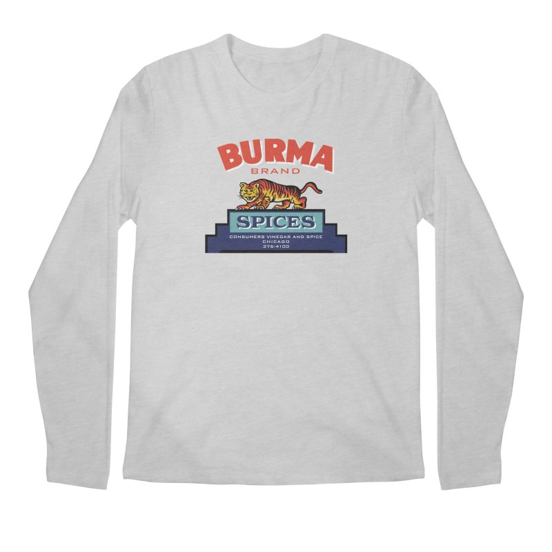 Burma Spices Tiger Logo Men's Regular Longsleeve T-Shirt by Boneyard Studio - Boneyard Fly Gear