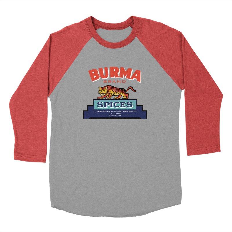 Burma Spices Tiger Logo Men's Baseball Triblend Longsleeve T-Shirt by Boneyard Studio - Boneyard Fly Gear