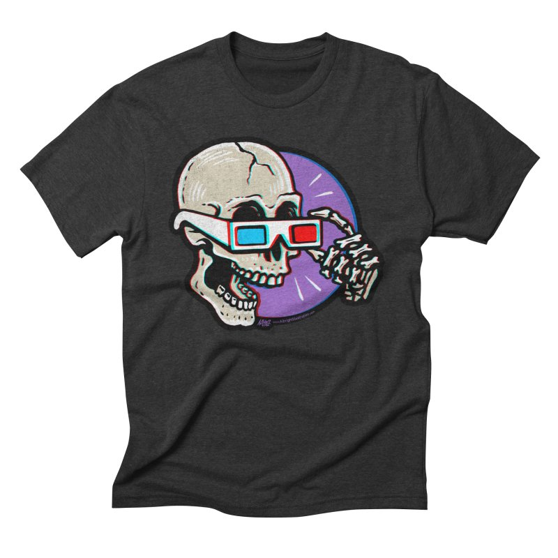 3D Glasses are Skull Cracking Fun in Men's Triblend T-shirt Heather Onyx by Brad Albright Illustration Shop