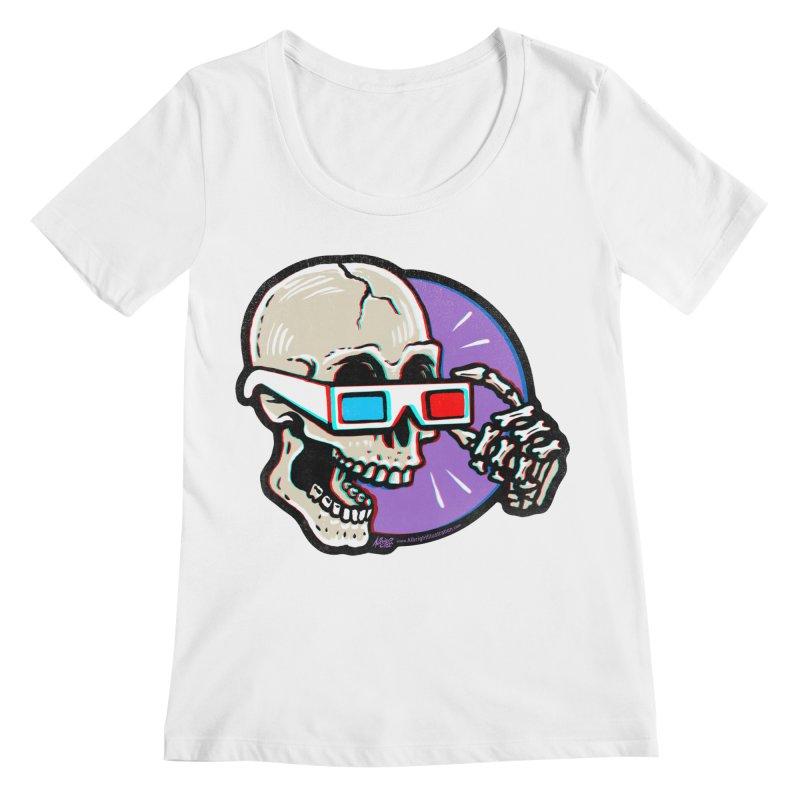 3D Glasses are Skull Cracking Fun Women's Scoopneck by Brad Albright Illustration Shop