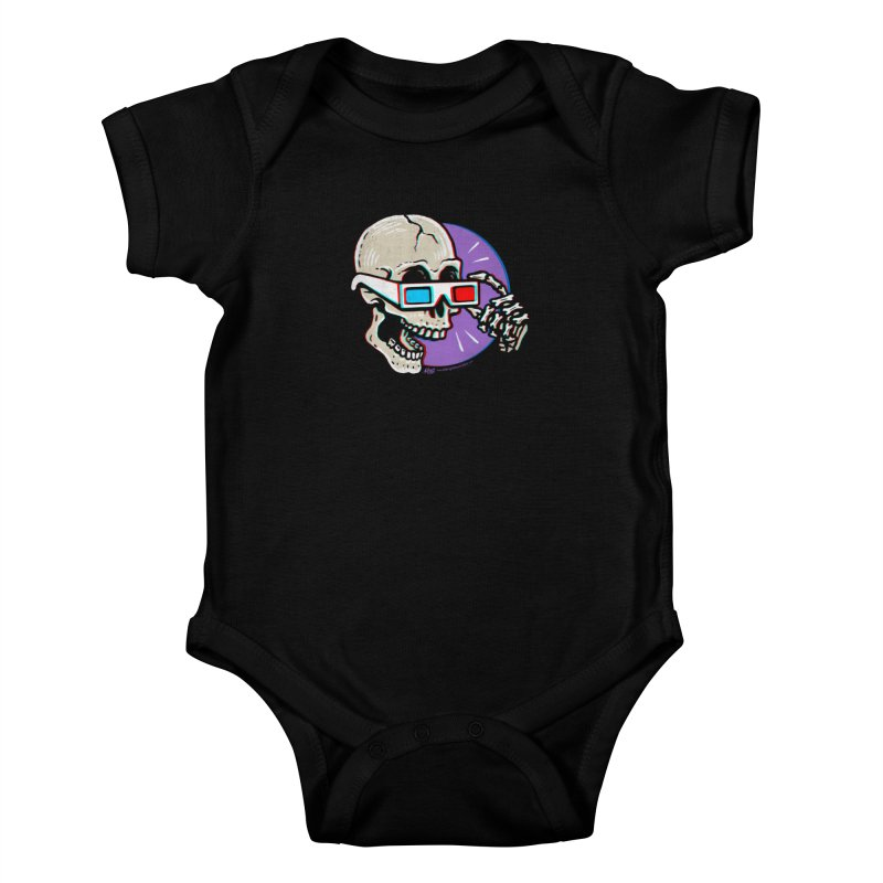 3D Glasses are Skull Cracking Fun Kids Baby Bodysuit by Brad Albright Illustration Shop