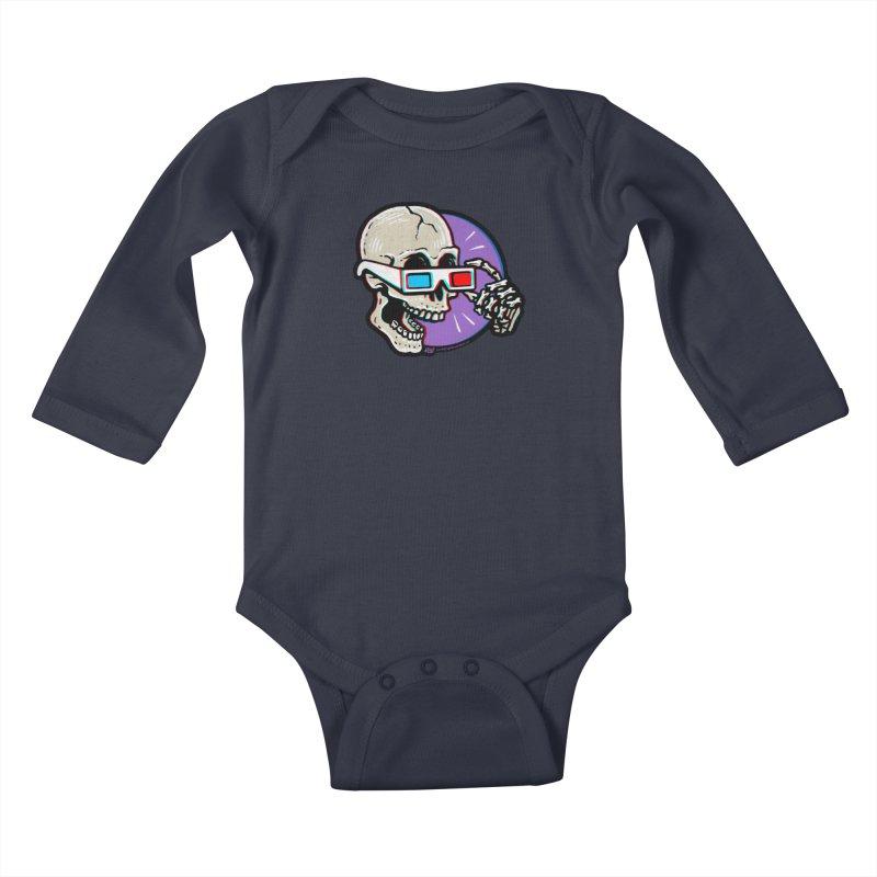 3D Glasses are Skull Cracking Fun Kids Baby Longsleeve Bodysuit by Brad Albright Illustration Shop