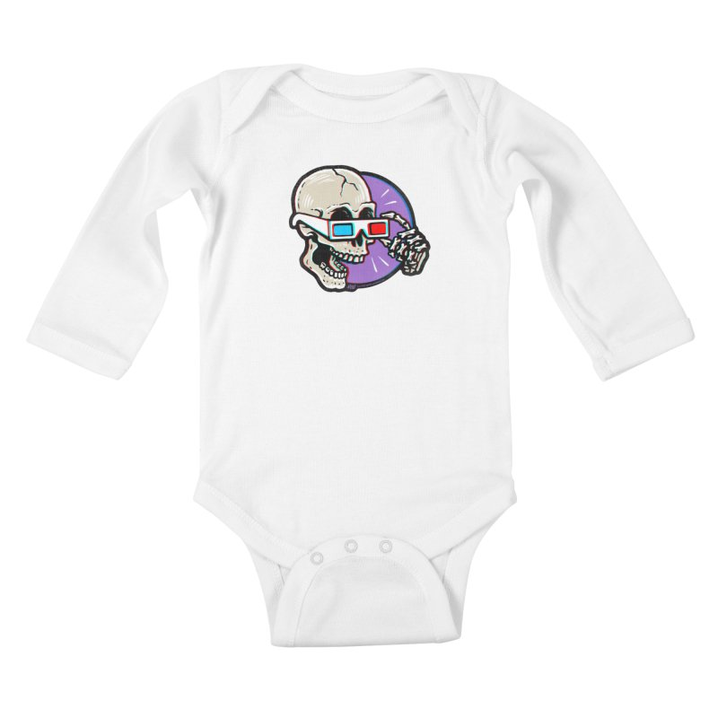 3D Glasses are Skull Cracking Fun Kids Baby Longsleeve Bodysuit by Brad Albright Illustration Shop