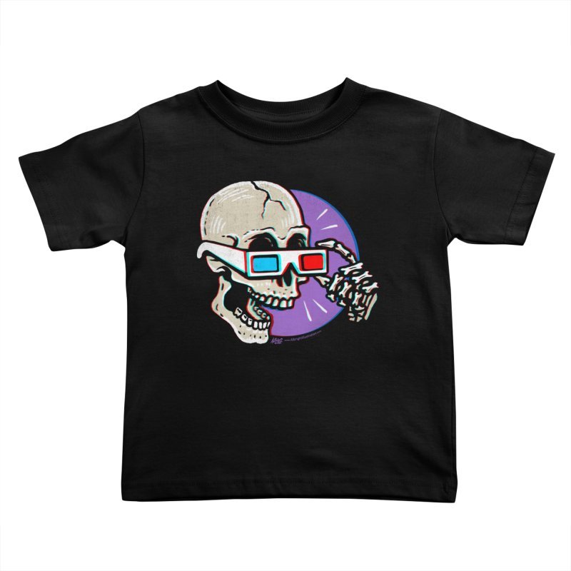 3D Glasses are Skull Cracking Fun Kids Toddler T-Shirt by Brad Albright Illustration Shop