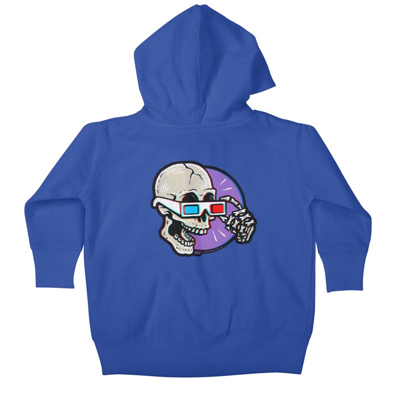 3D Glasses are Skull Cracking Fun Kids Baby Zip-Up Hoody by Brad Albright Illustration Shop