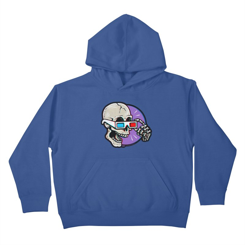 3D Glasses are Skull Cracking Fun Kids Pullover Hoody by Brad Albright Illustration Shop