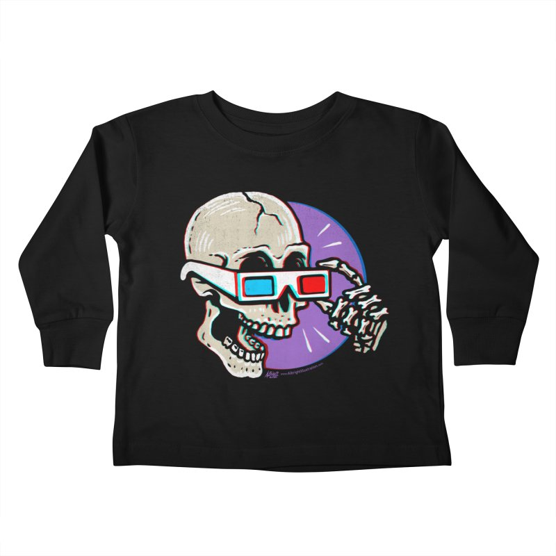 3D Glasses are Skull Cracking Fun Kids Toddler Longsleeve T-Shirt by Brad Albright Illustration Shop