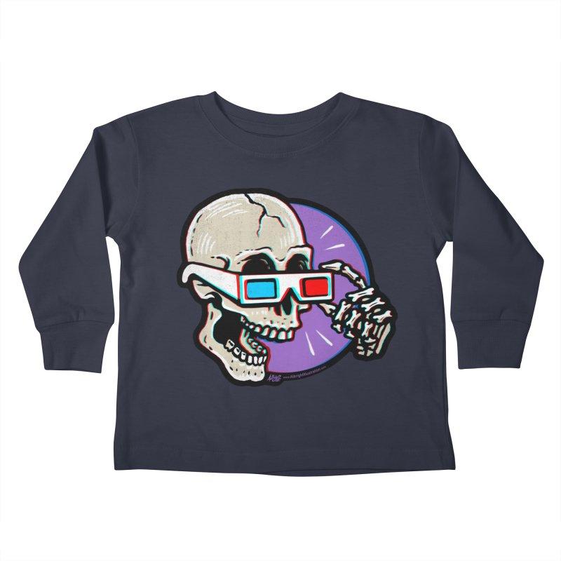 3D Glasses are Skull Cracking Fun Kids Toddler Longsleeve T-Shirt by Brad Albright Illustration Shop