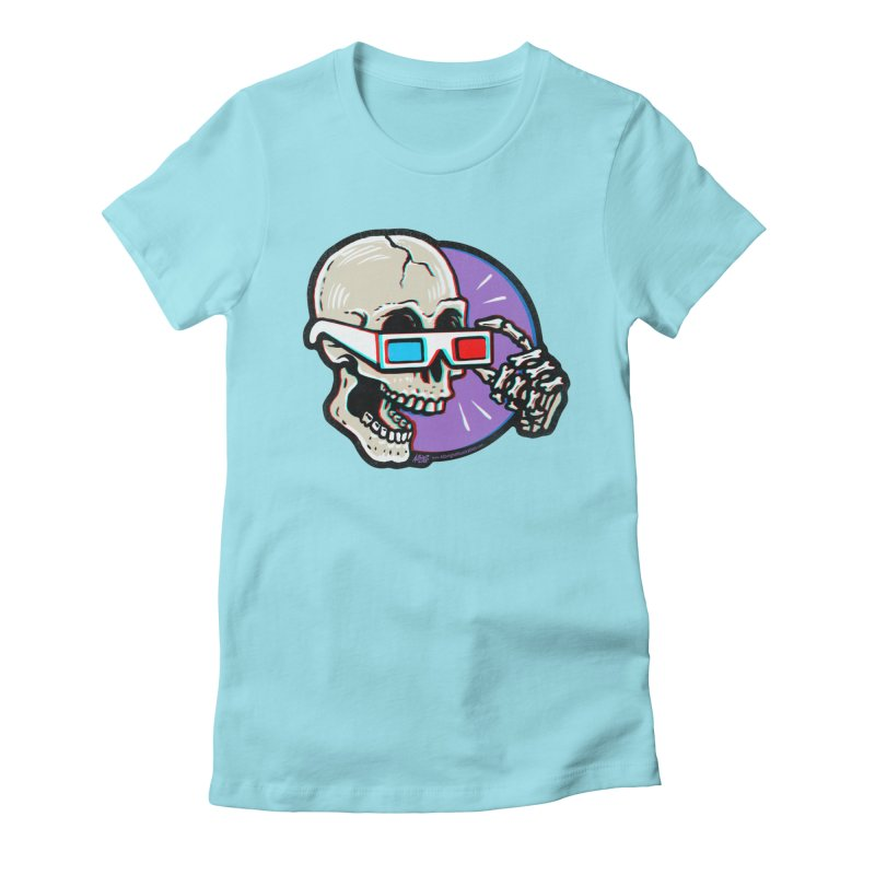 3D Glasses are Skull Cracking Fun Women's Fitted T-Shirt by Brad Albright Illustration Shop