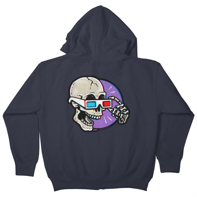3D Glasses are Skull Cracking Fun Kids Zip-Up Hoody by Brad Albright Illustration Shop