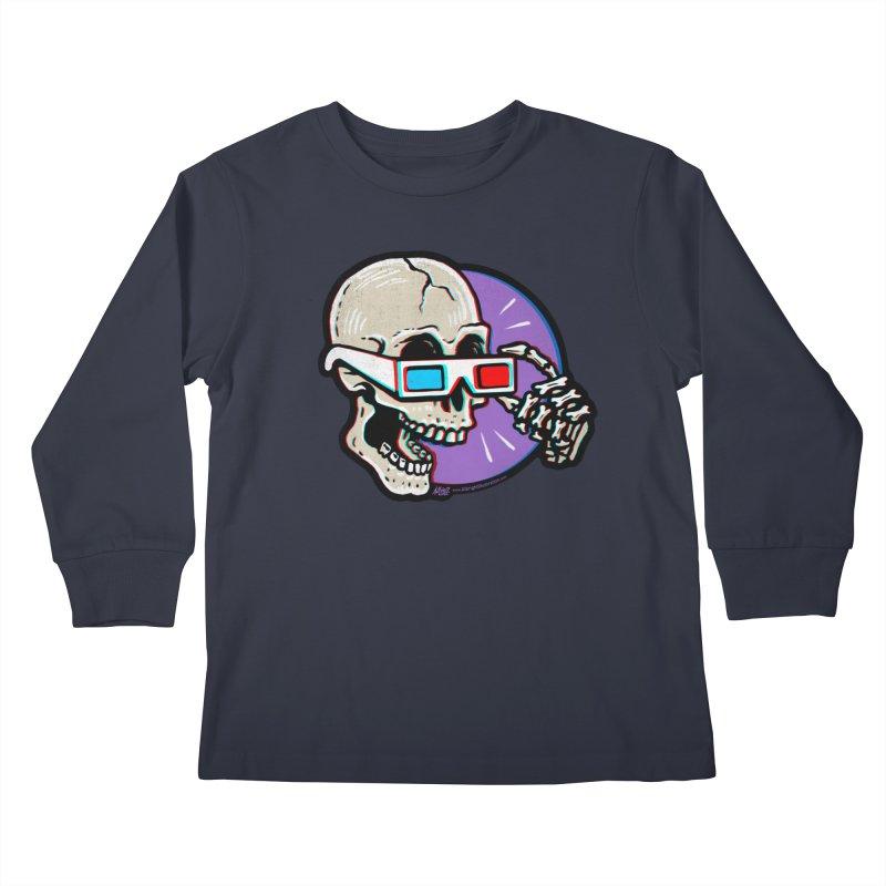 3D Glasses are Skull Cracking Fun Kids Longsleeve T-Shirt by Brad Albright Illustration Shop