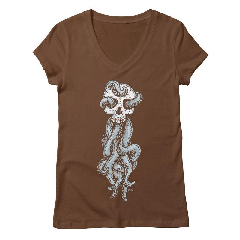 Tentaskull Women's V-Neck by Brad Albright Illustration Shop
