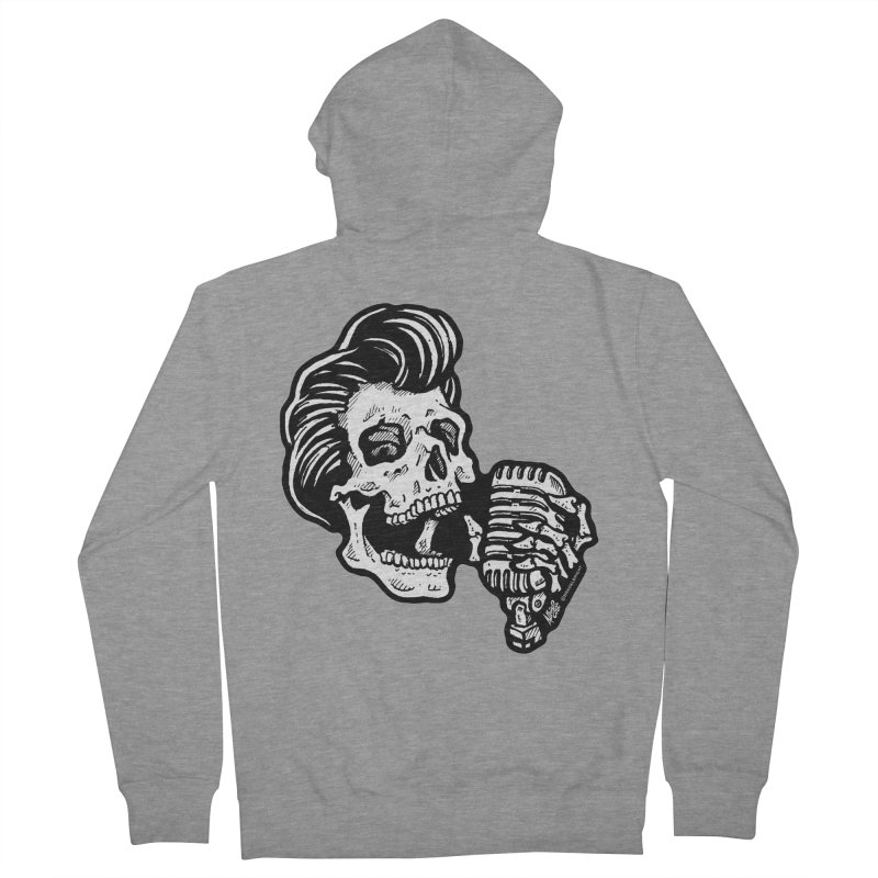 Rockabilly Greaser Skull Men's Zip-Up Hoody by Brad Albright Illustration Shop