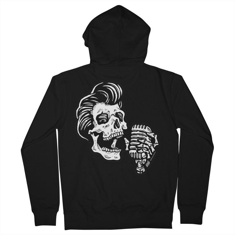 Rockabilly Greaser Skull Men's Zip-Up Hoody by Brad Albright Illustration Shop