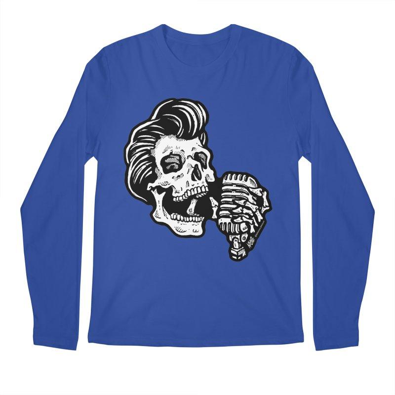 Rockabilly Greaser Skull Men's Longsleeve T-Shirt by Brad Albright Illustration Shop