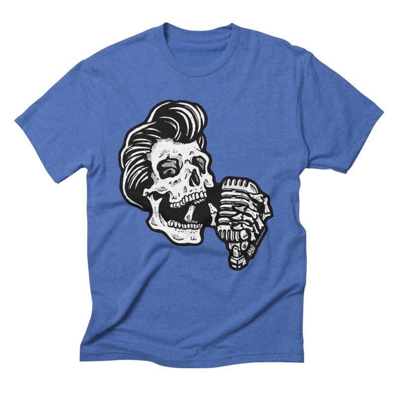 Rockabilly Greaser Skull Men's Triblend T-shirt by Brad Albright Illustration Shop