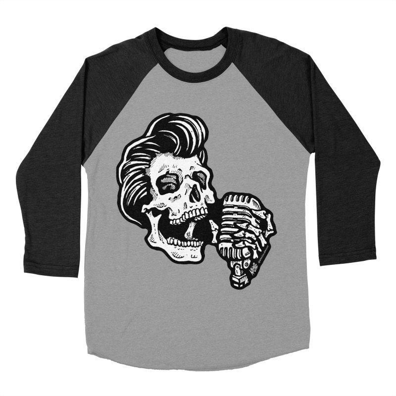 Rockabilly Greaser Skull Men's Baseball Triblend T-Shirt by Brad Albright Illustration Shop