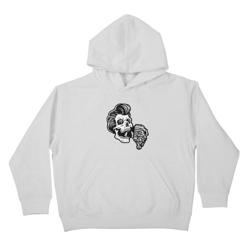 Rockabilly Greaser Skull Kids Pullover Hoody by Brad Albright Illustration Shop