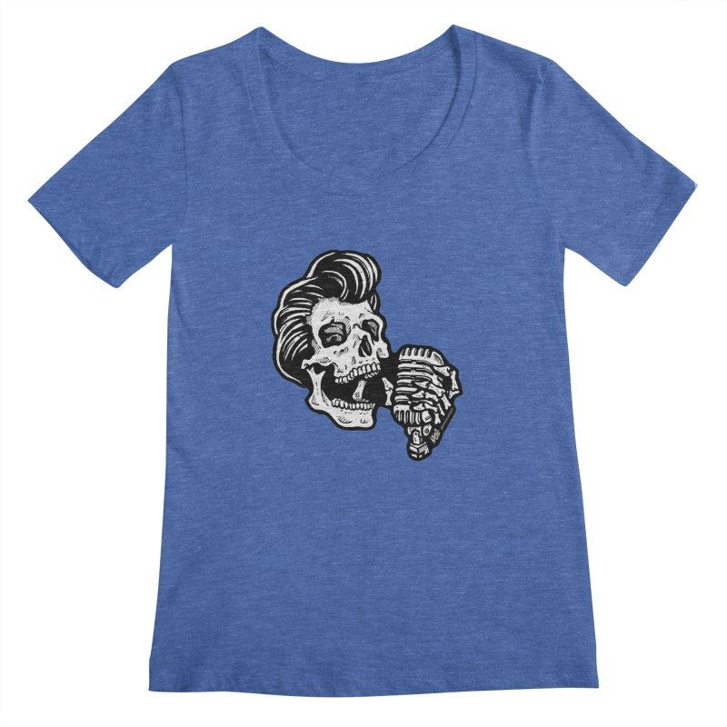 Rockabilly Greaser Skull Women's Scoopneck by Brad Albright Illustration Shop