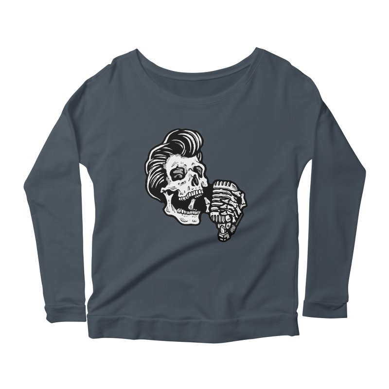 Rockabilly Greaser Skull Women's Longsleeve Scoopneck  by Brad Albright Illustration Shop