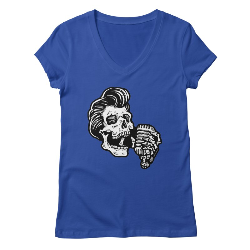 Rockabilly Greaser Skull Women's V-Neck by Brad Albright Illustration Shop
