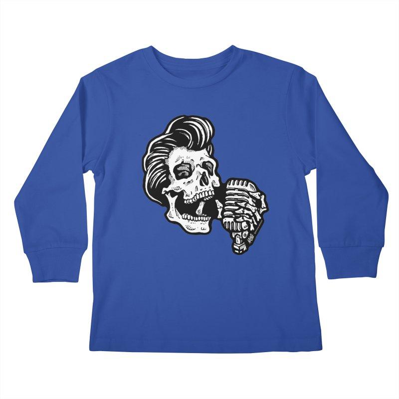 Rockabilly Greaser Skull Kids Longsleeve T-Shirt by Brad Albright Illustration Shop