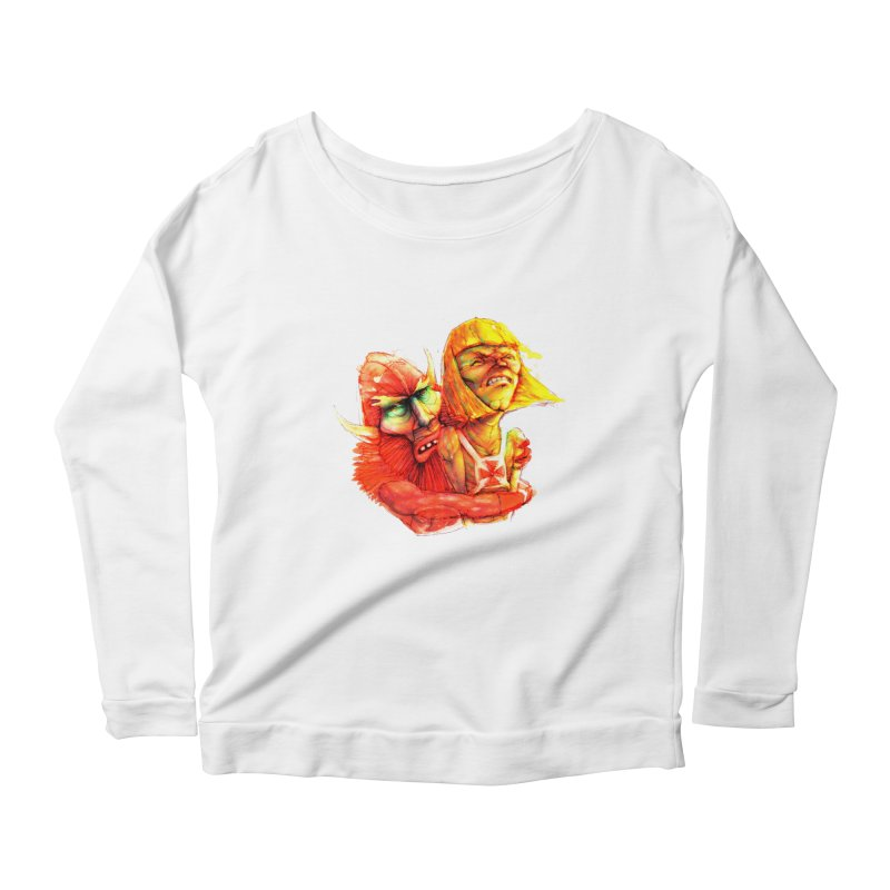 Hug It Out! Women's Longsleeve Scoopneck  by BradGresham's Artist Shop