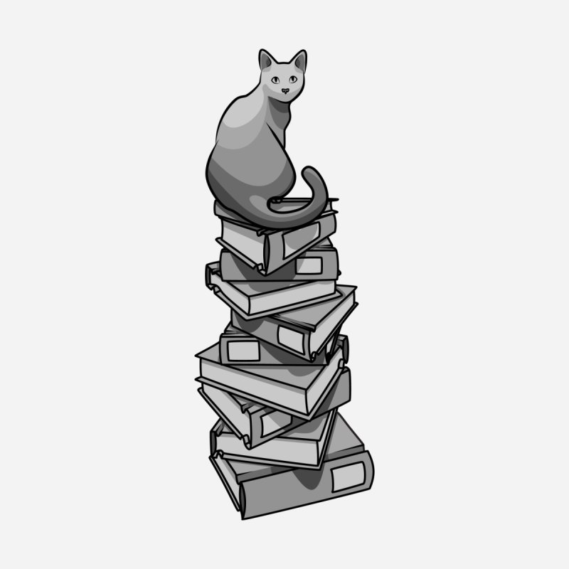 Puss & Books None  by BrainMatter's Artist Shop