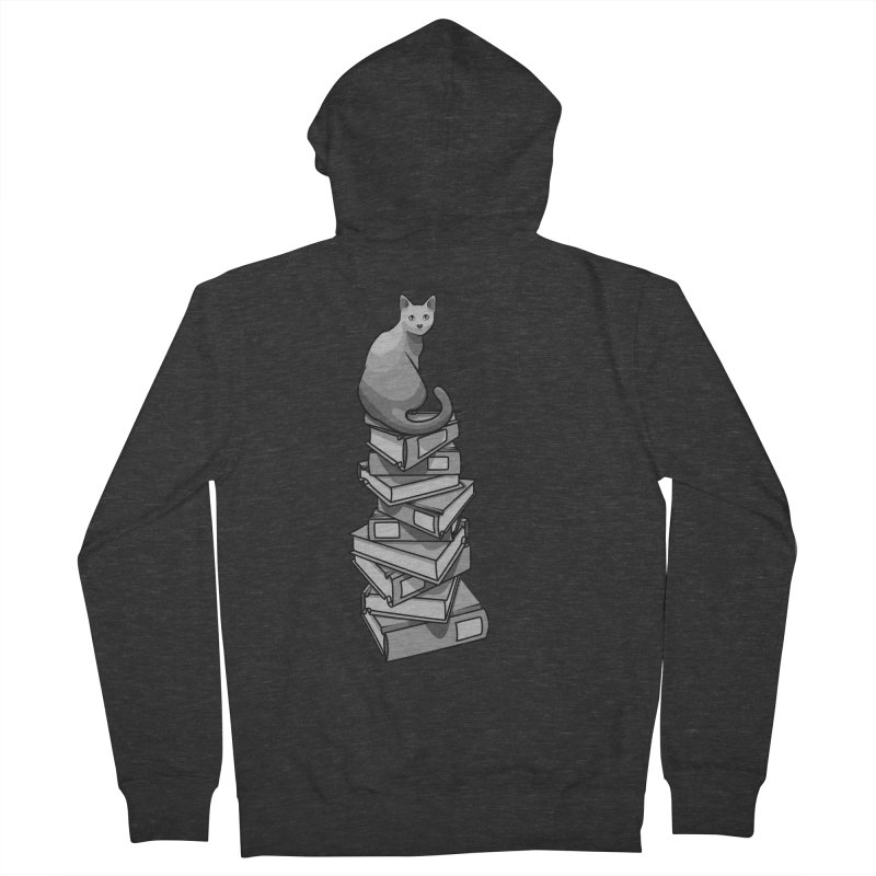 Puss & Books Women's French Terry Zip-Up Hoody by BrainMatter's Artist Shop