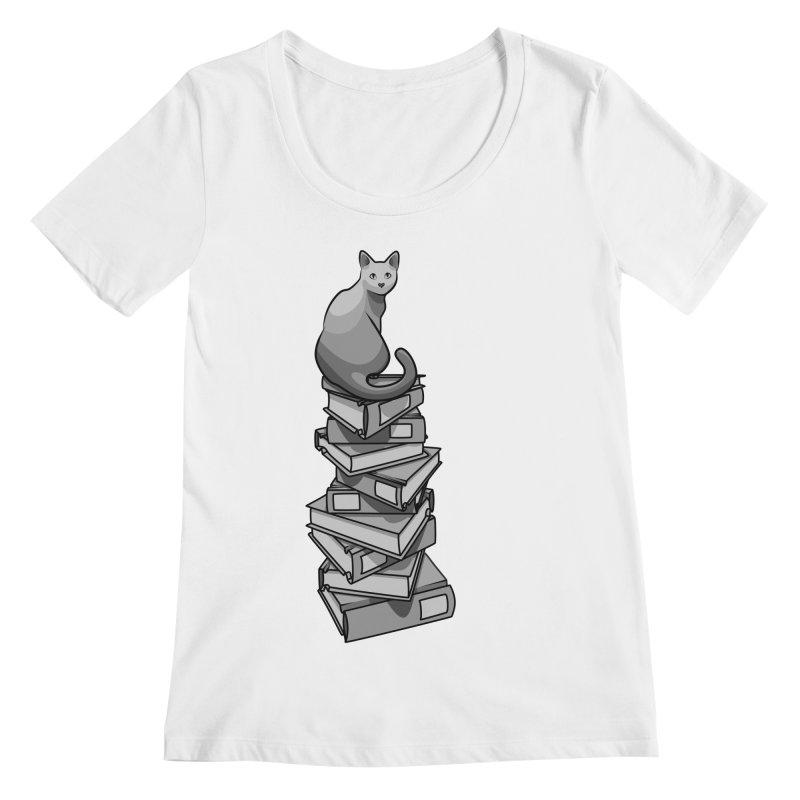Puss & Books Women's Regular Scoop Neck by BrainMatter's Artist Shop