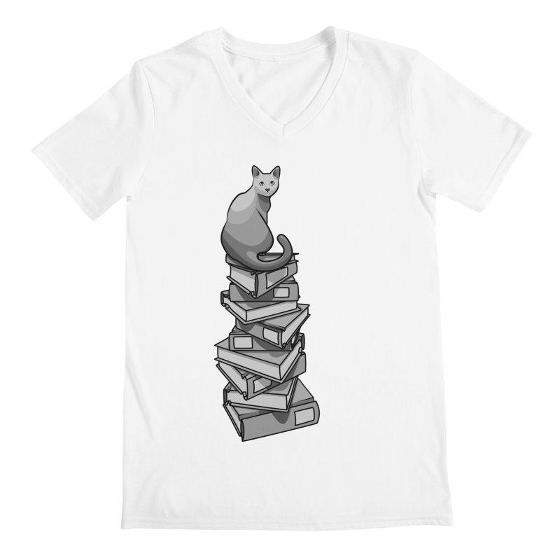 Puss & Books Men's V-Neck by BrainMatter's Artist Shop
