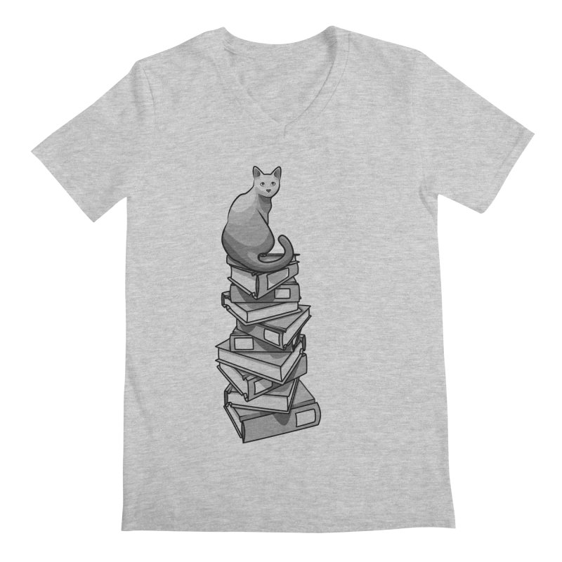 Puss & Books Men's V-Neck by BrainMatter's Artist Shop