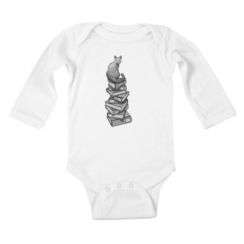 Puss & Books Kids Baby Longsleeve Bodysuit by BrainMatter's Artist Shop